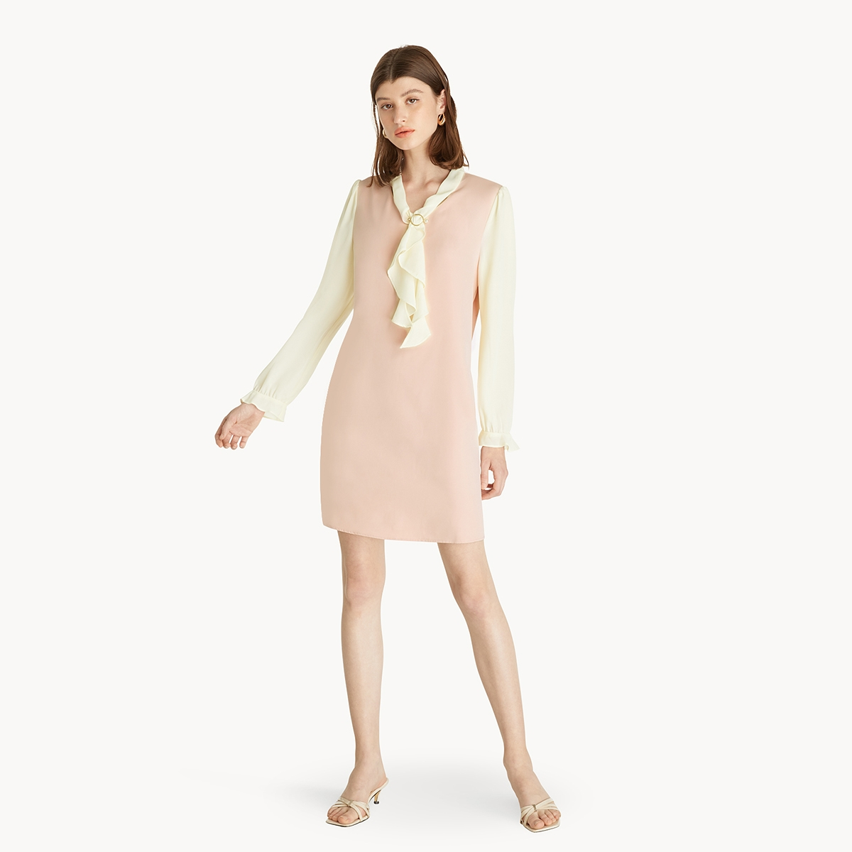 Tie Neck Shift Dress Pink