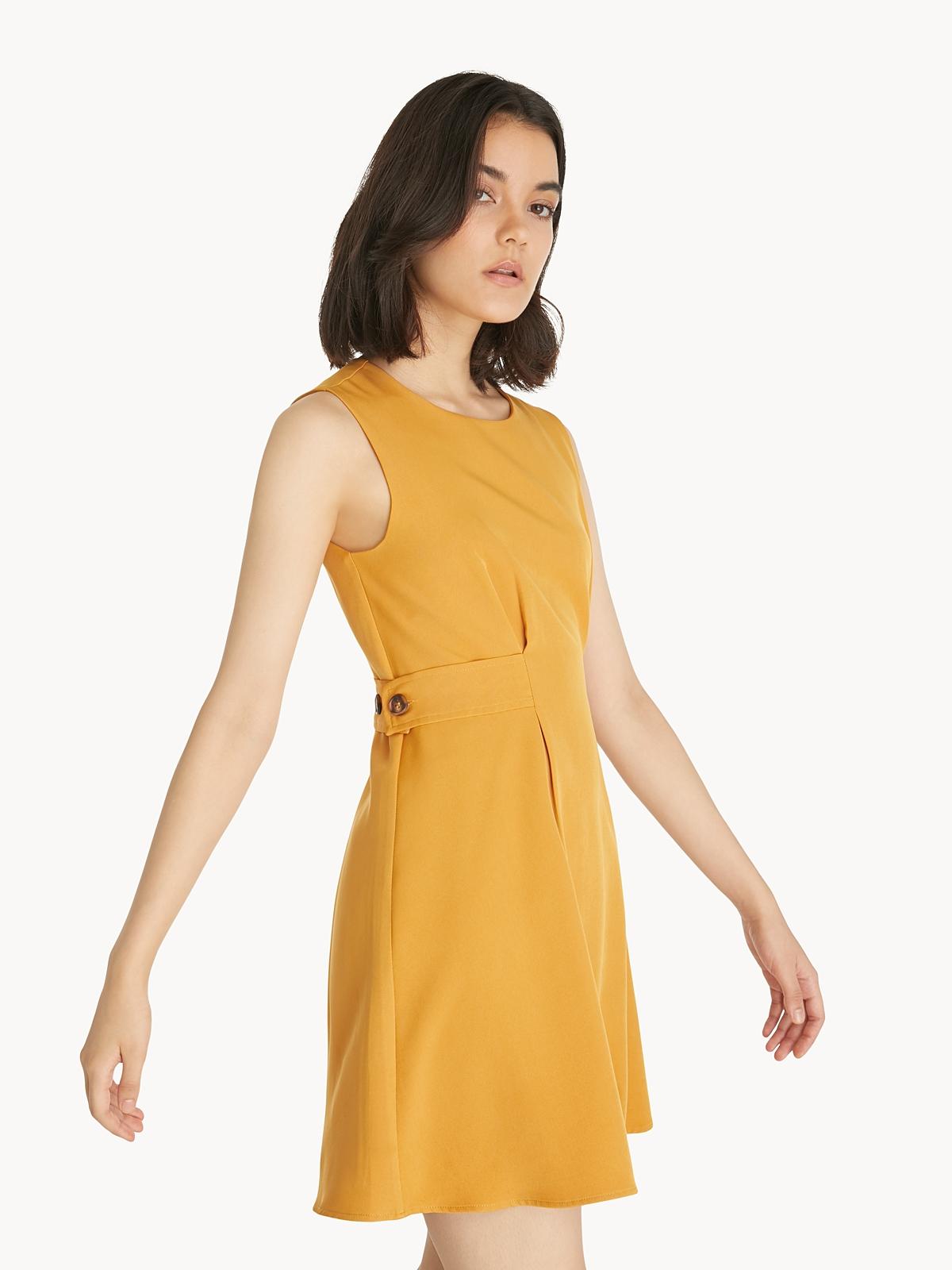 Mini Buttoned Waist Dress Yellow