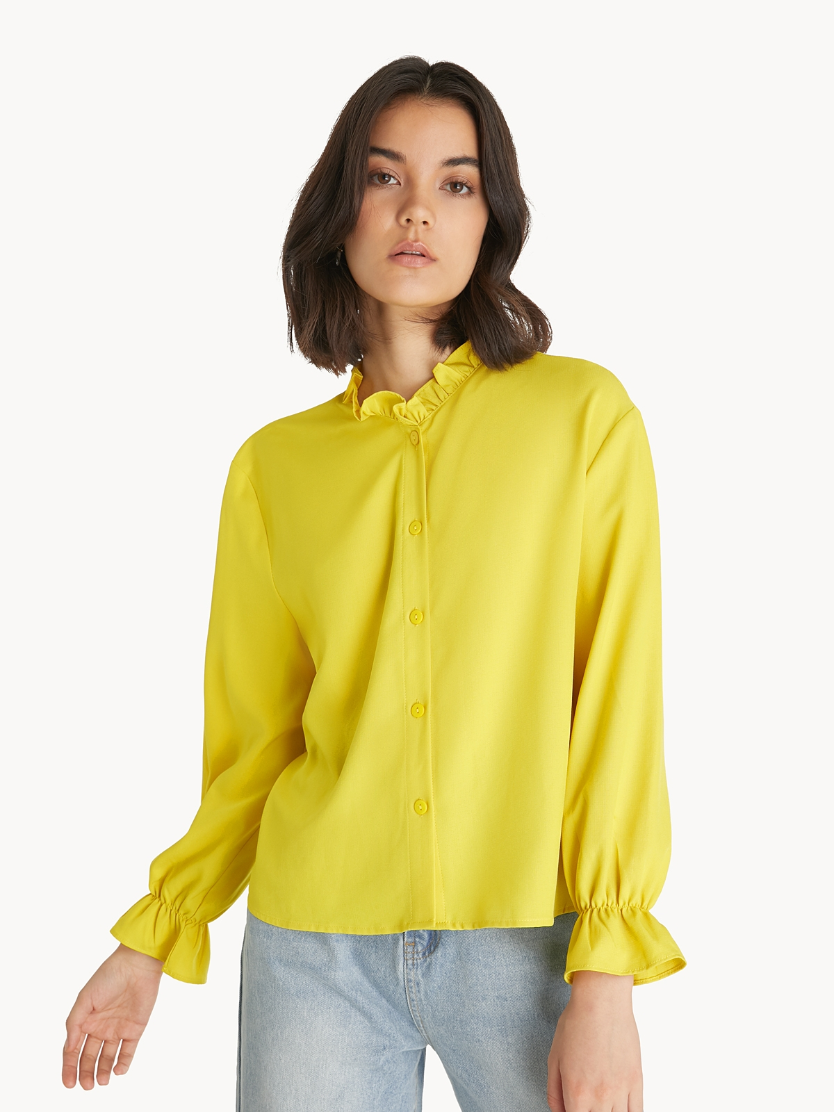 Frill Neck Poet Sleeves Blouse Yellow