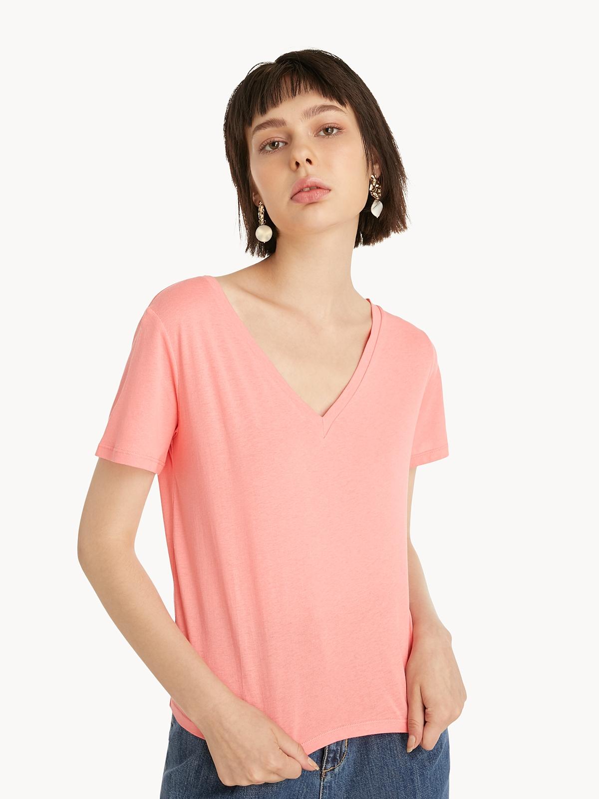 Wide VNeck Tee Pink