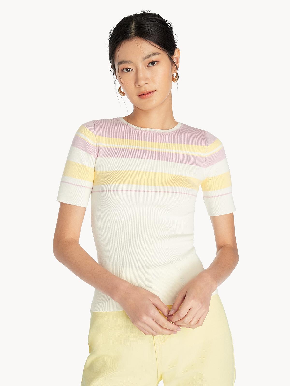 Striped Color Block Tee White