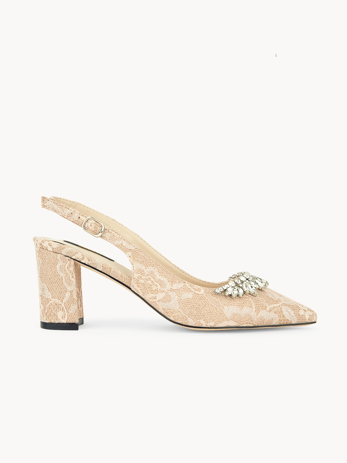 March Shoes Lace Block Heels Pink Gold