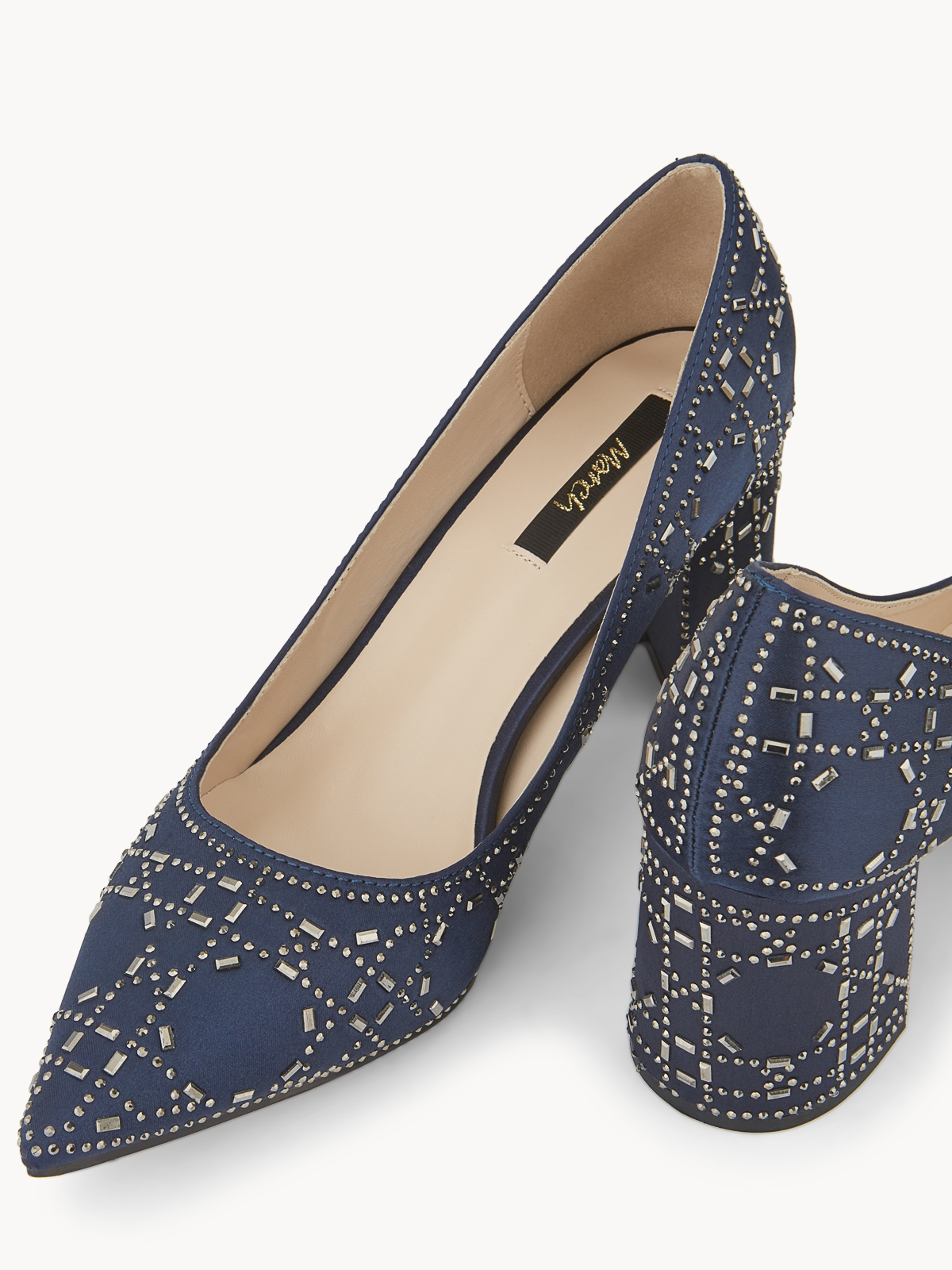 March Shoes Kathy Textured Block Heels Navy