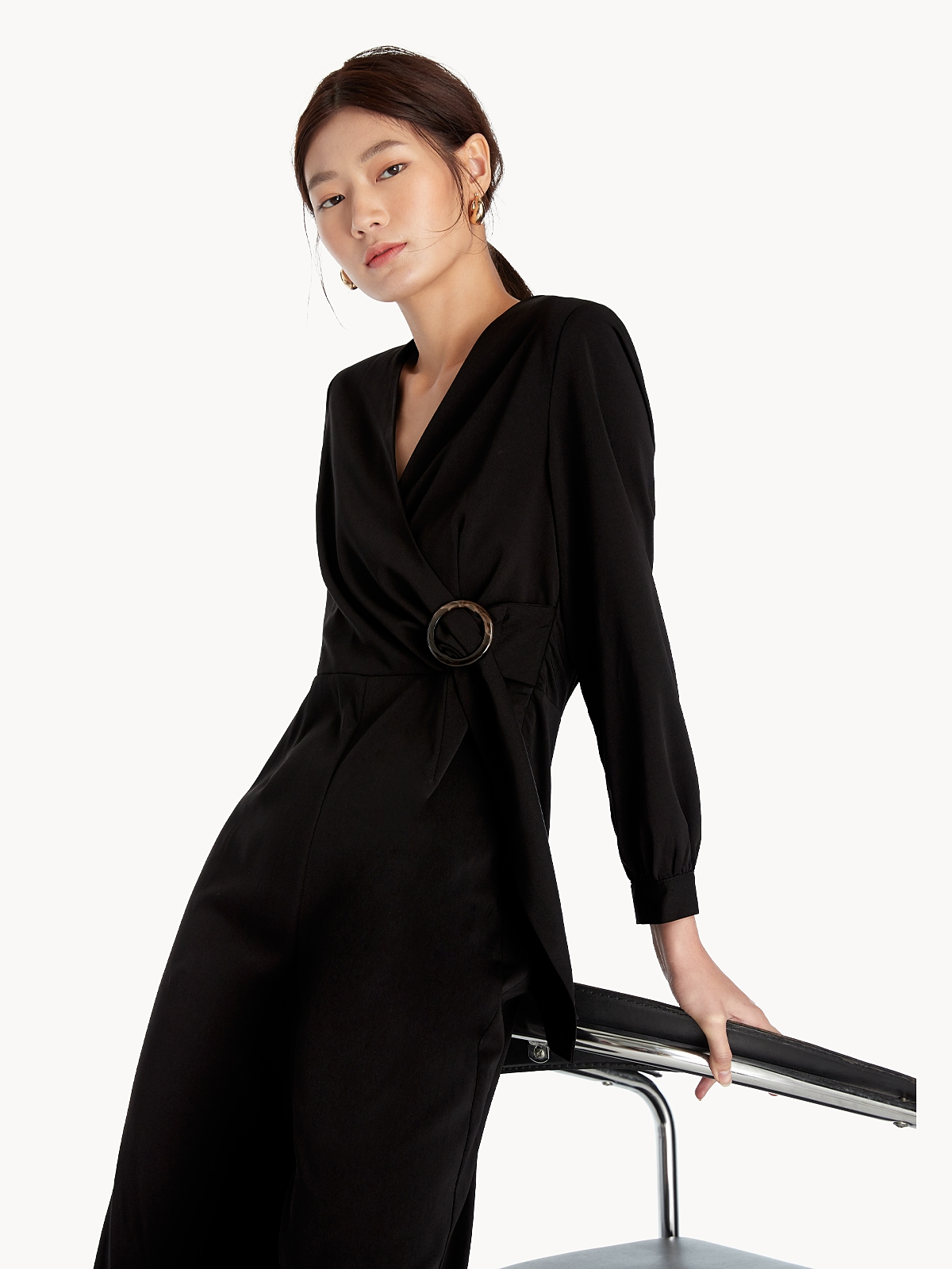 Long Sleeve Buckled Jumpsuit Black