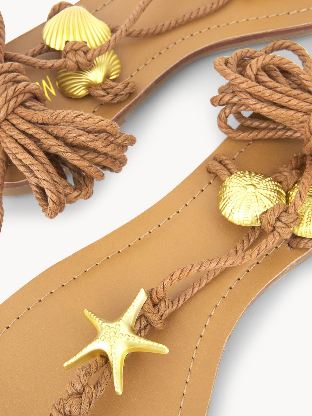 LookAtWe Tie Up Strappy Sandals Beige