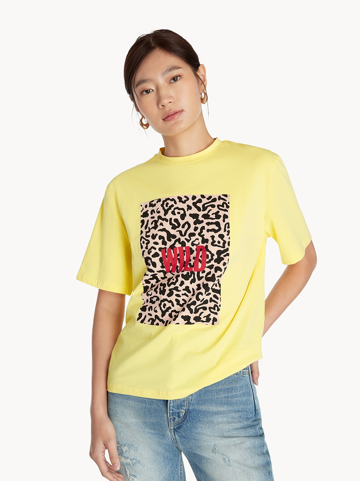 Wild Leopard Graphic Tee Yellow