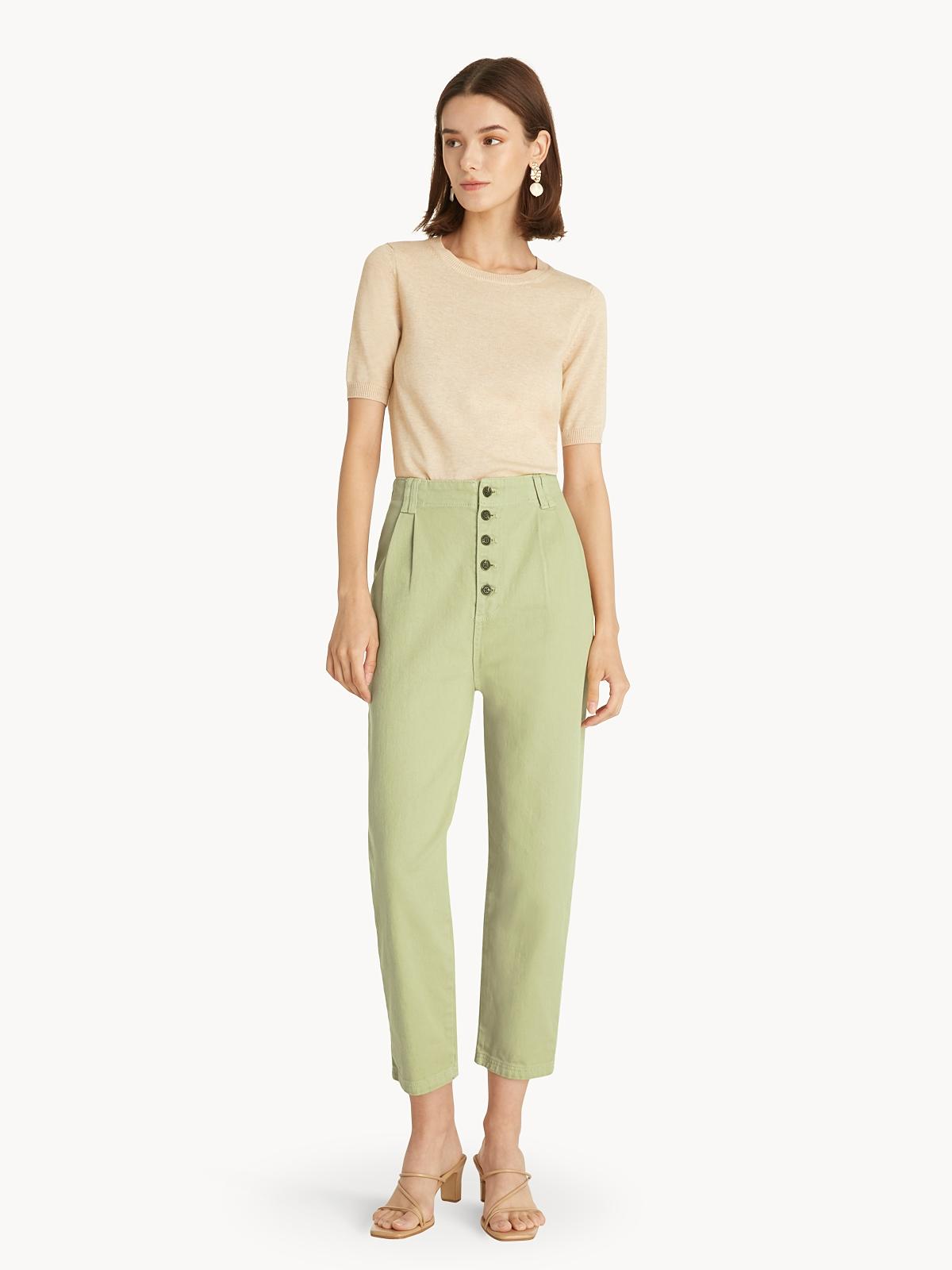 Short Sleeve Knit Top Beige