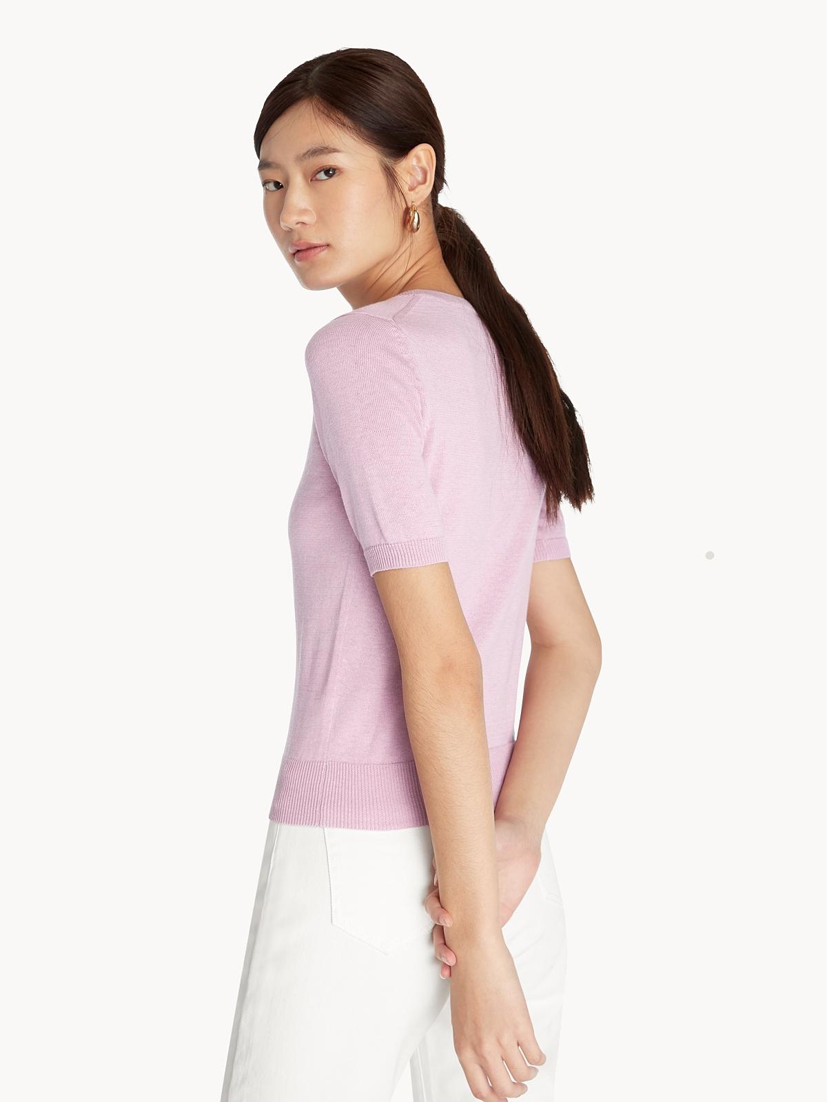 Short Sleeve Knit Top Purple