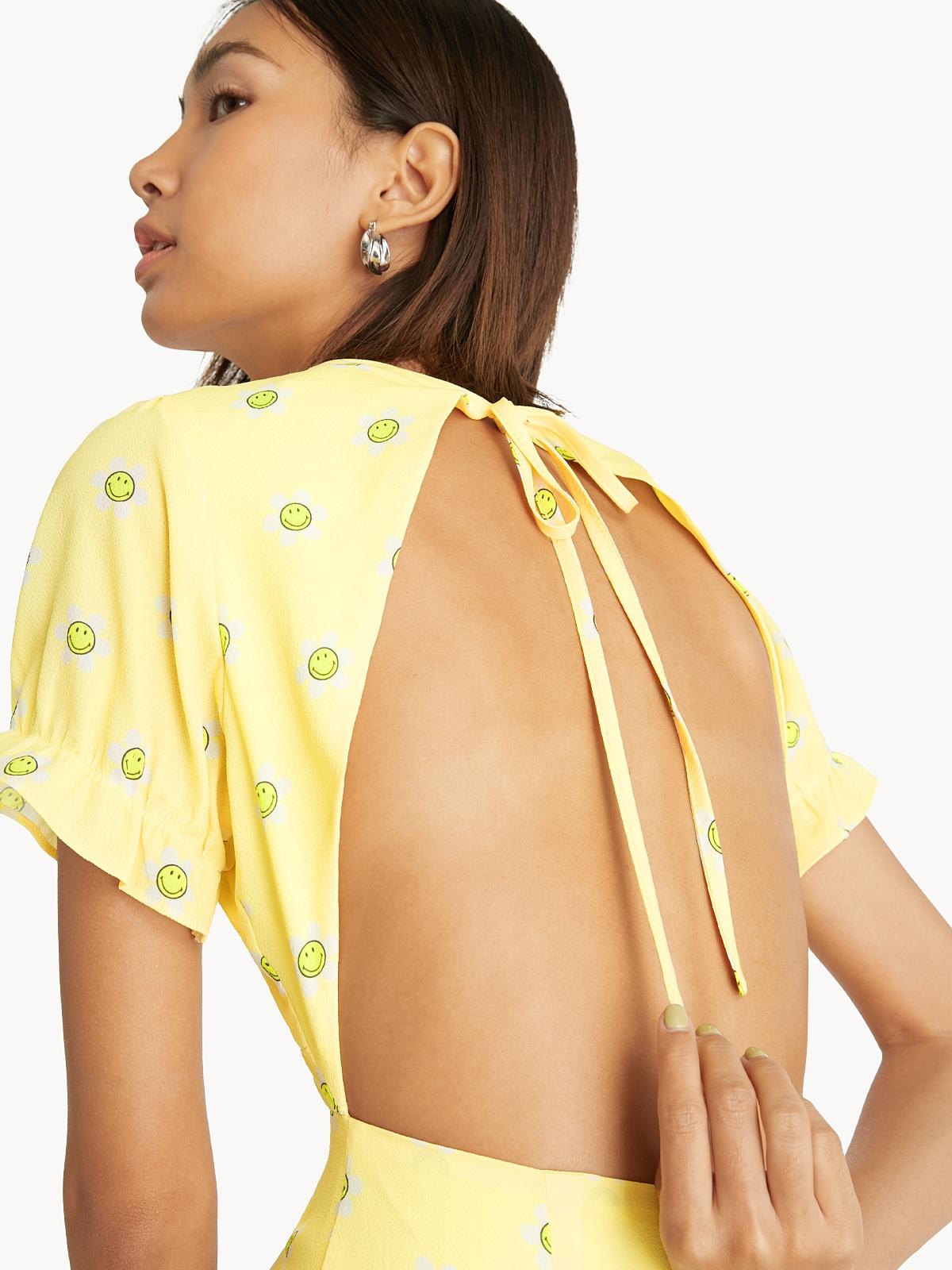 Pomelo x Smiley Open Back Dress Yellow