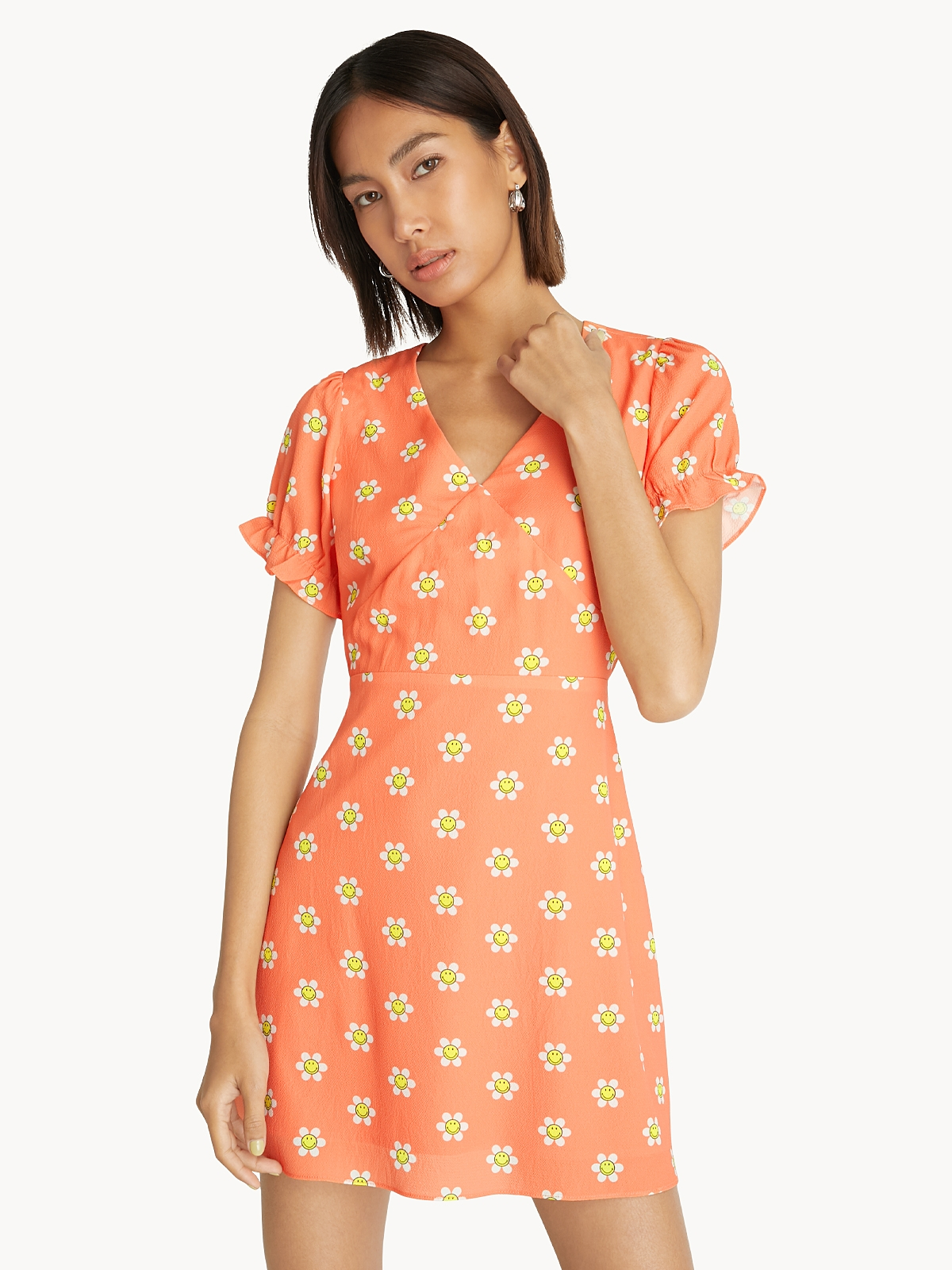 Pomelo x Smiley Open Back Dress Orange