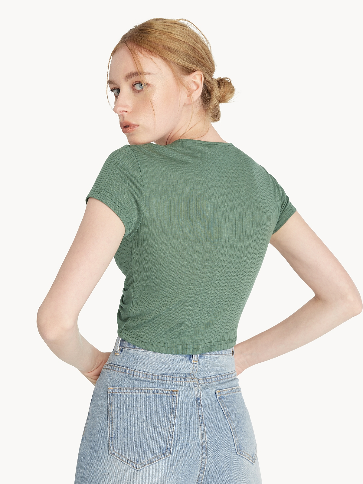 Front Knot Crop Tee Green