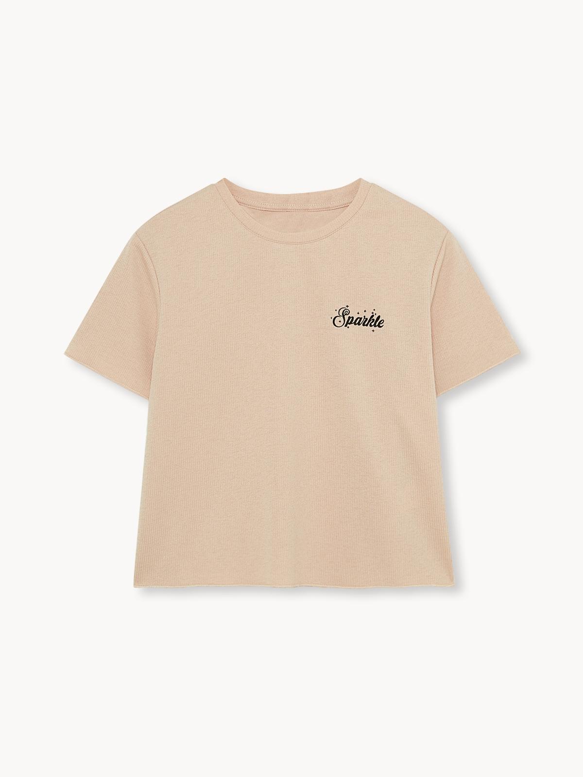 Sparkle Crew Neck Pyjama Top Cream