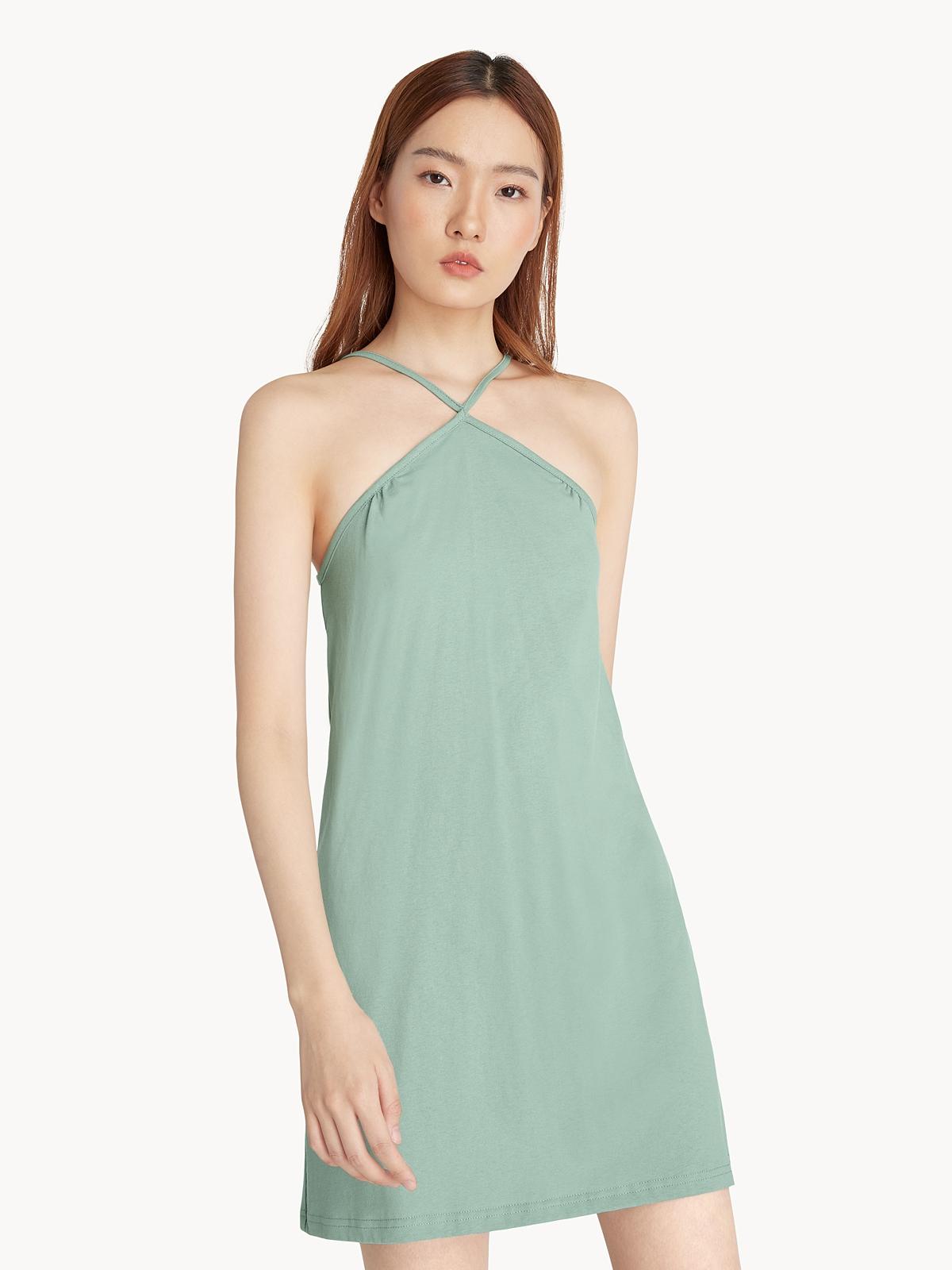 Halter Neck Slip Dress Mint