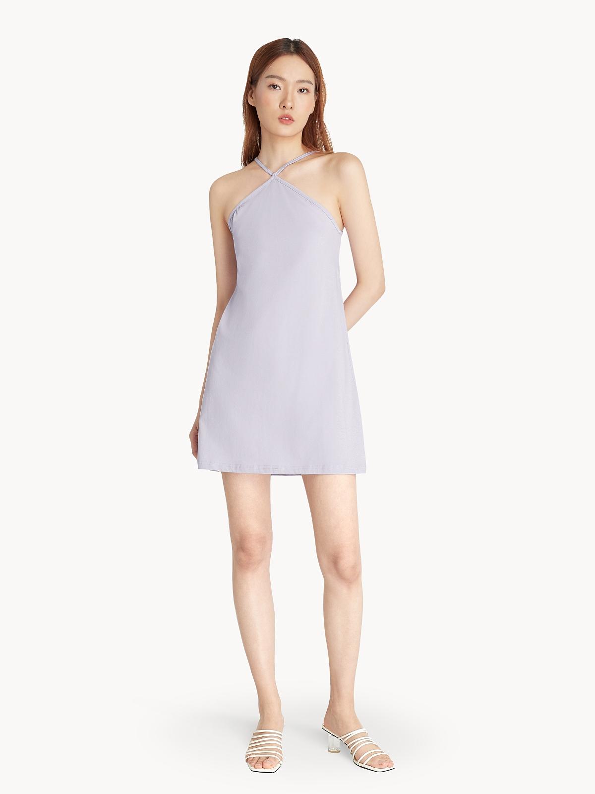 Halter Neck Slip Dress Purple