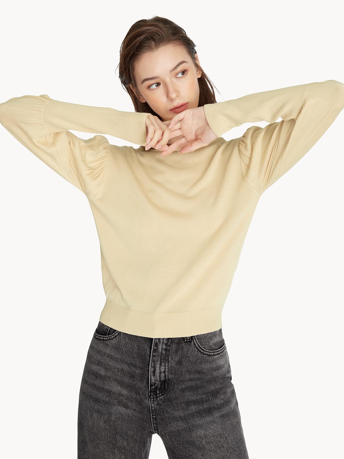 Puffed Sleeve Sweater Cream