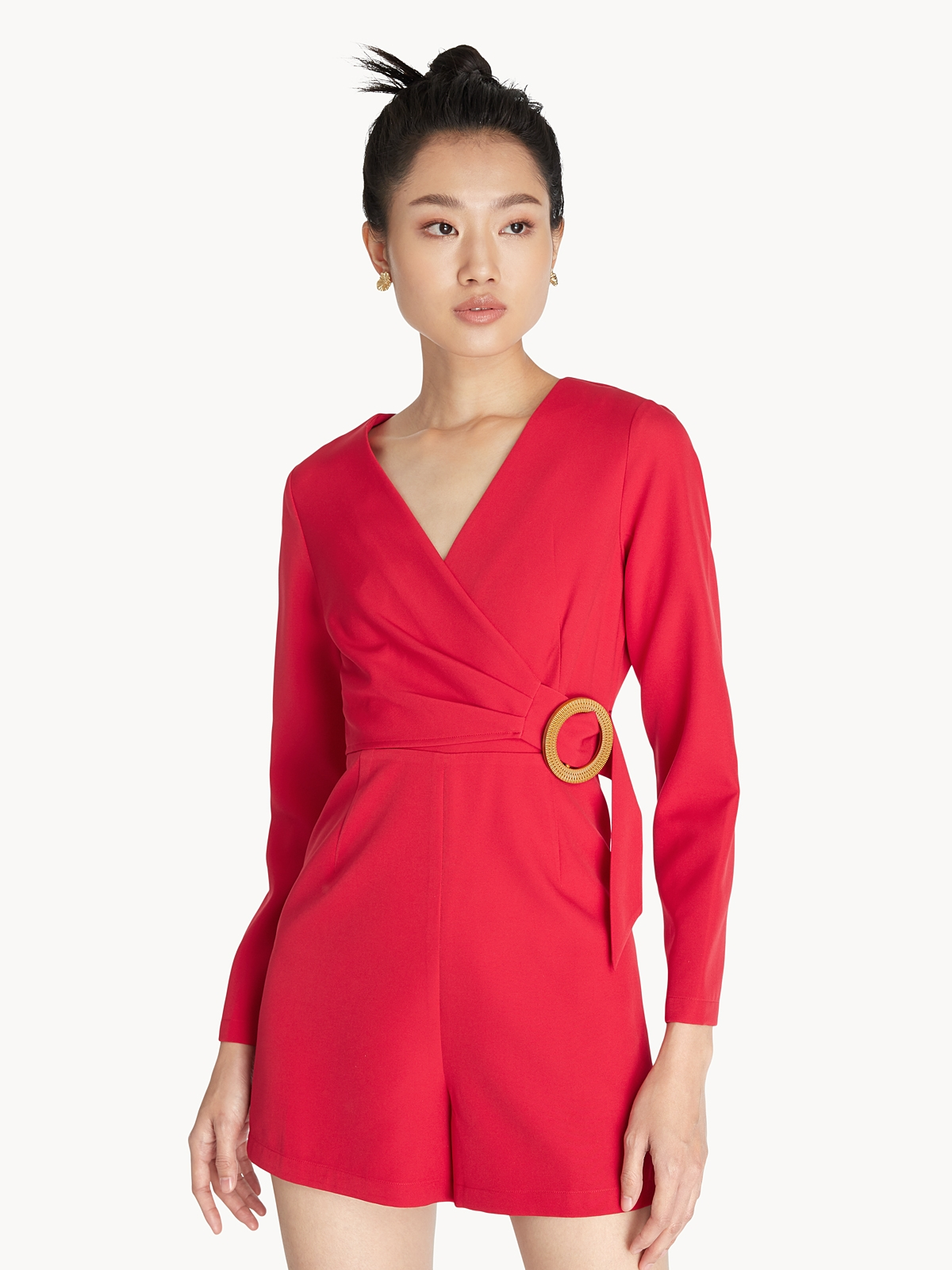 Wooden Ring Wrap Romper Red