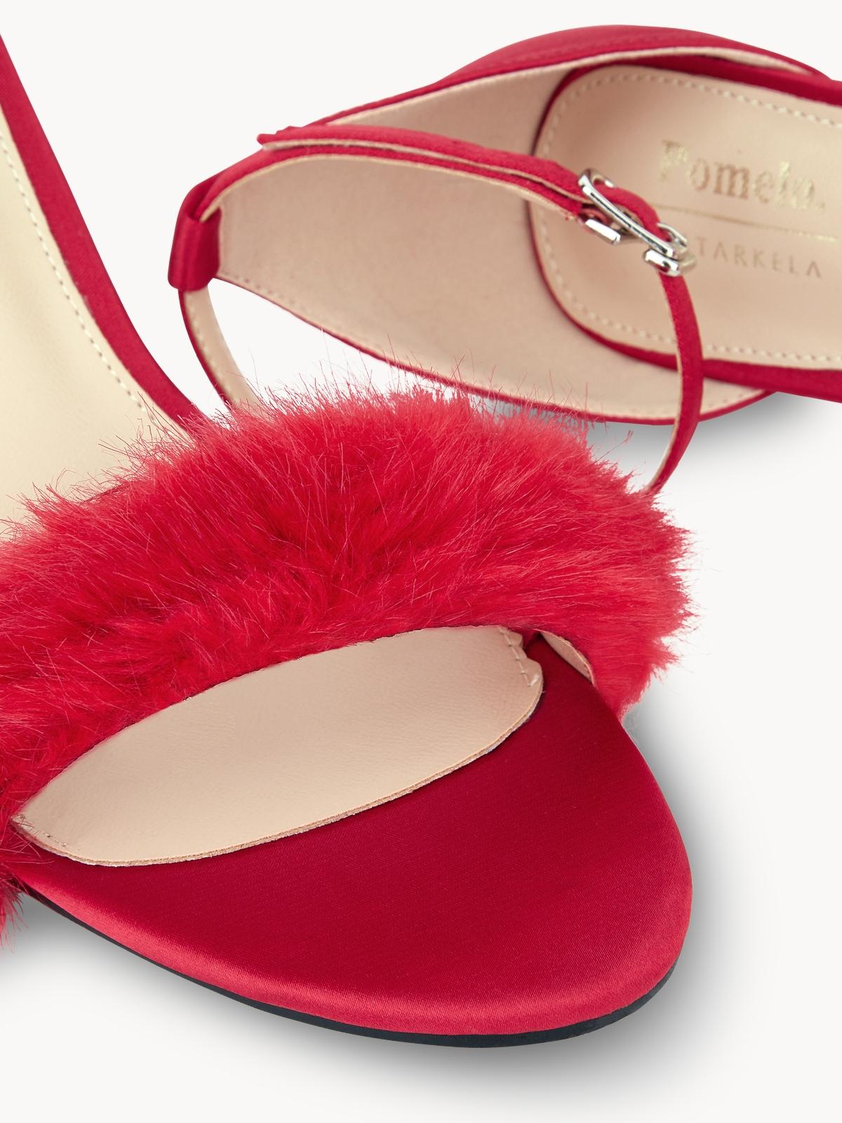 Starkela Faux Fur Strap Heels Red
