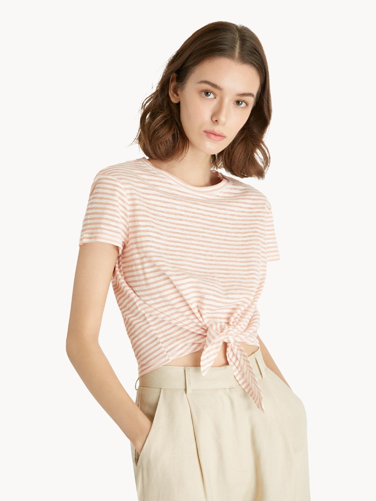 Stripe Tie Waist Top Pink