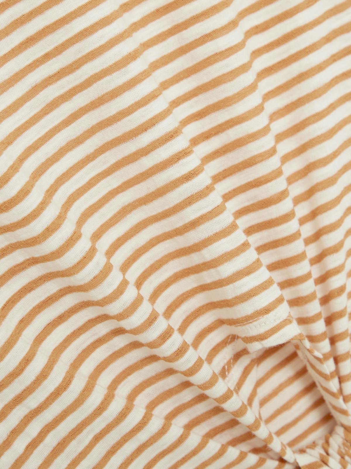 Stripe Tie Waist Top Brown