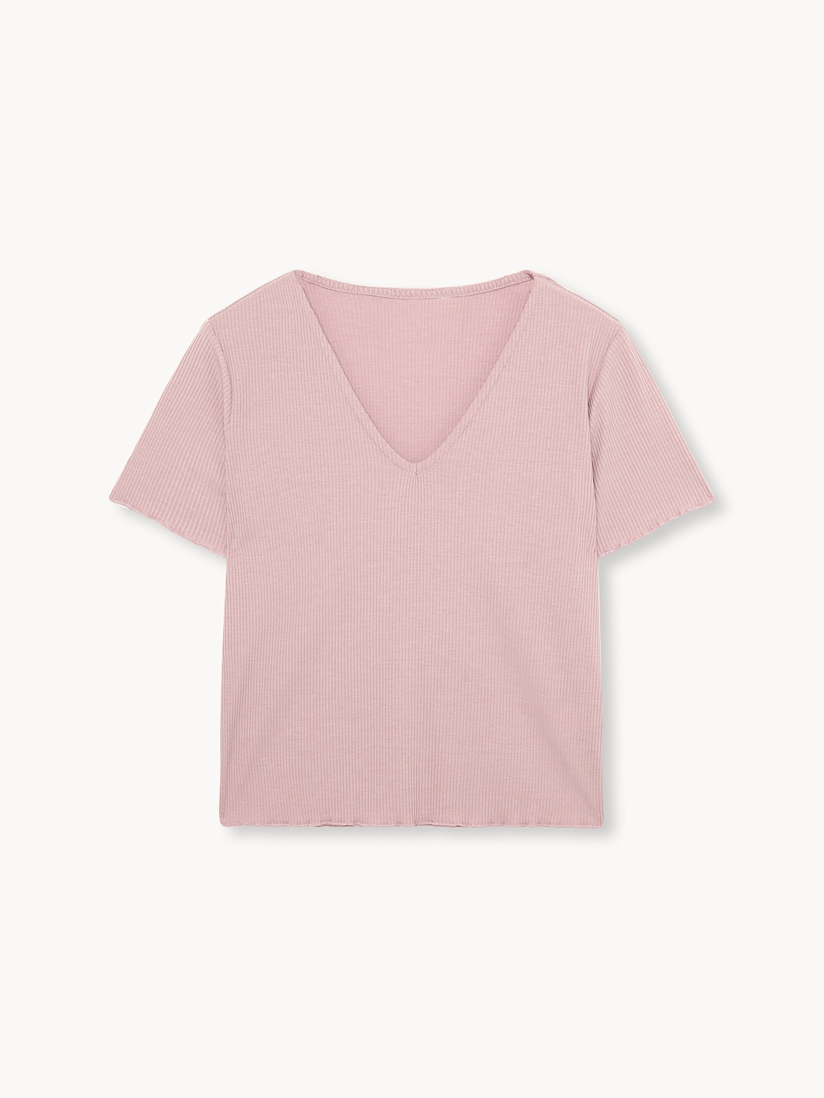 Trimmed Rib Top Pink