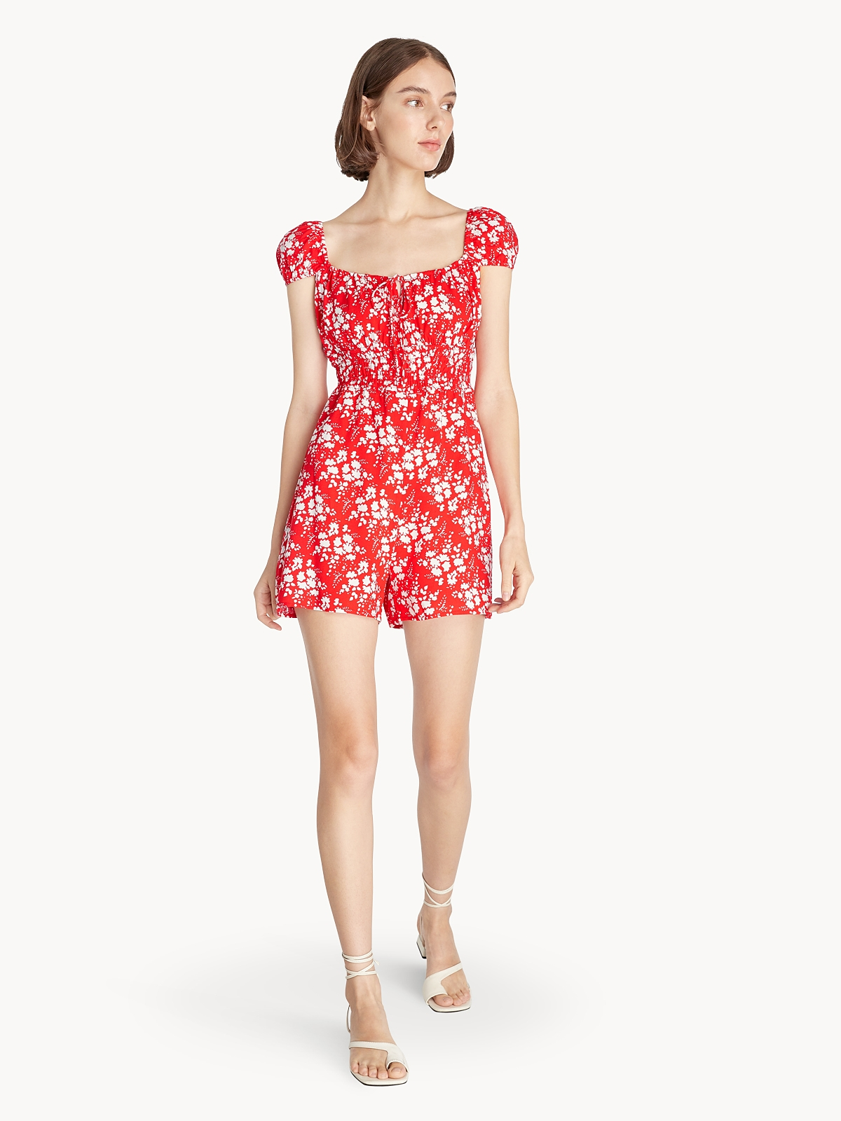 Floral Front Bow Romper Red