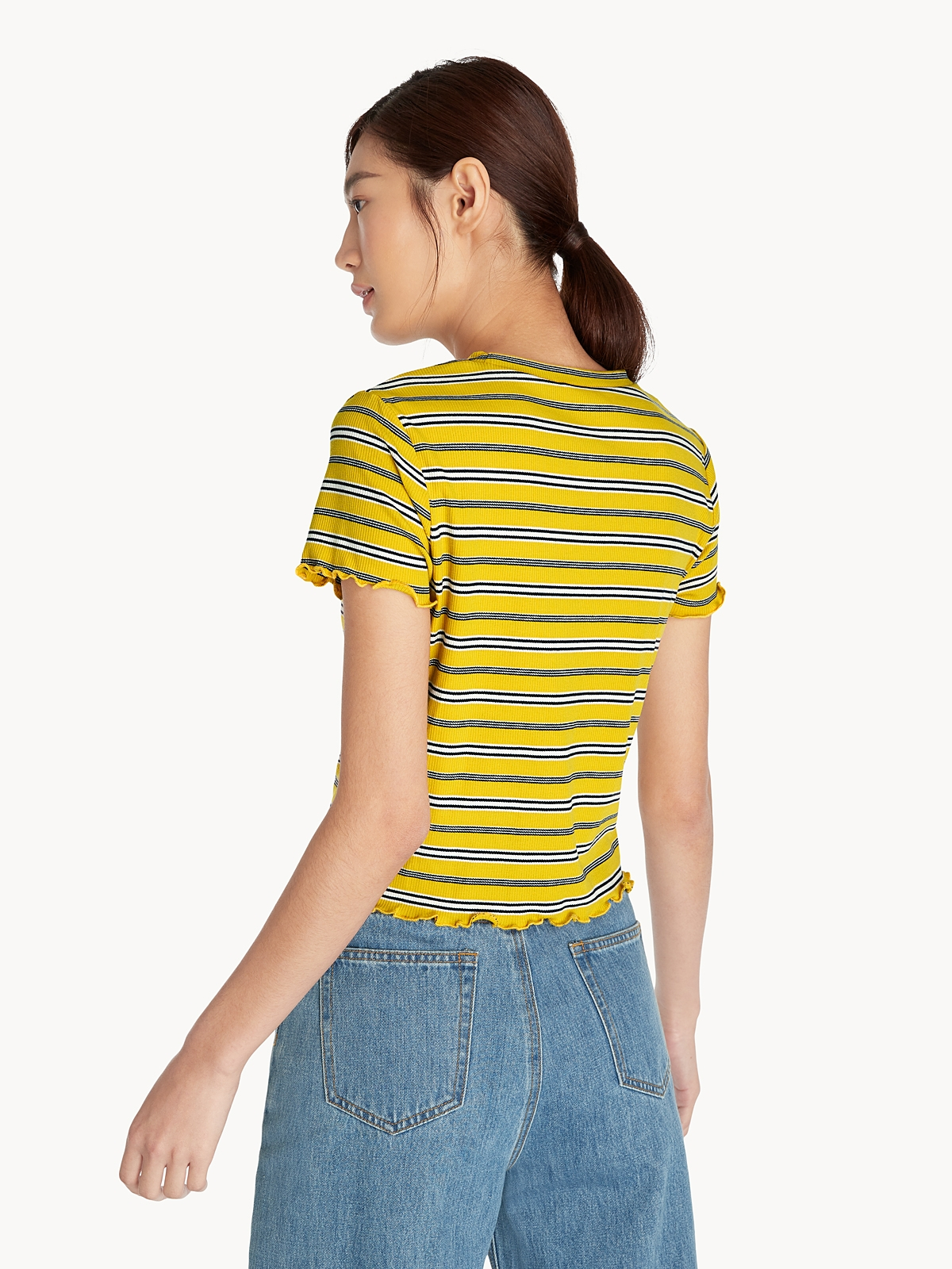 Stripe Ribbed Fitted Tee Yellow