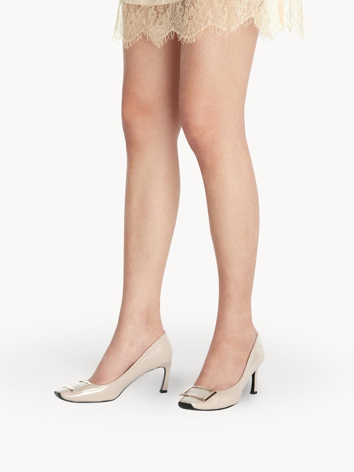 LookAtWe Stella Square Toe Heels Nude