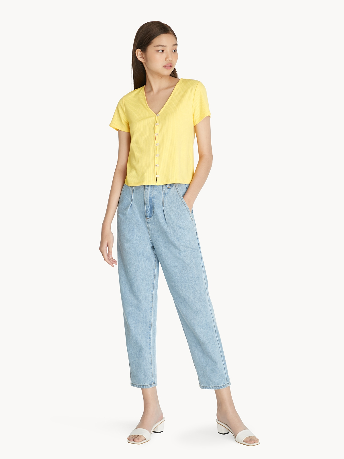 Button Up Ribbed Top Yellow