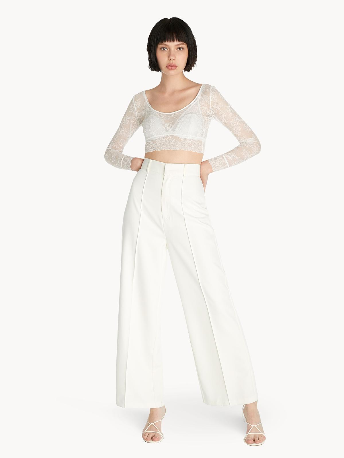 Sabina Long Sleeve Crop Top Offwhite
