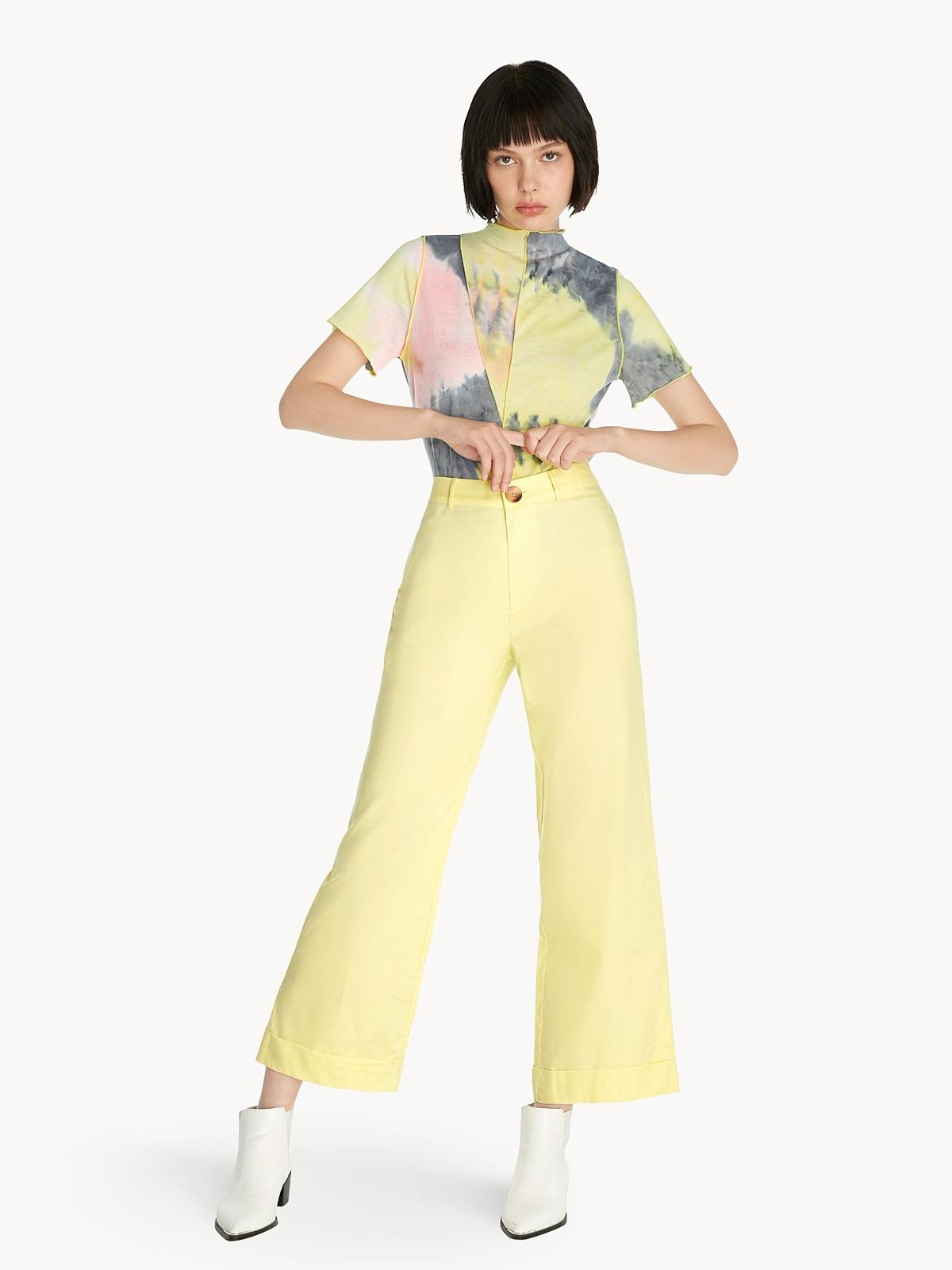 Tie Dye Mock Neck Tee Yellow