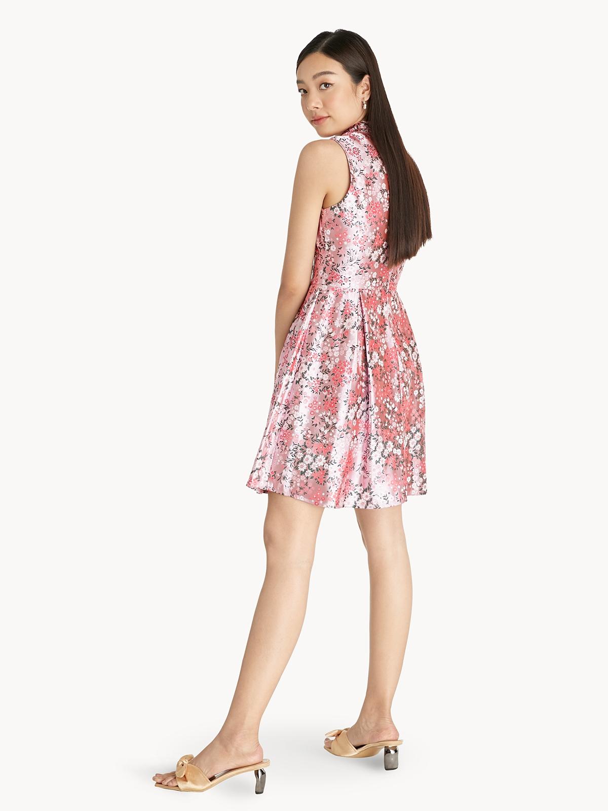 Mini Oriental Floral Dress Pink
