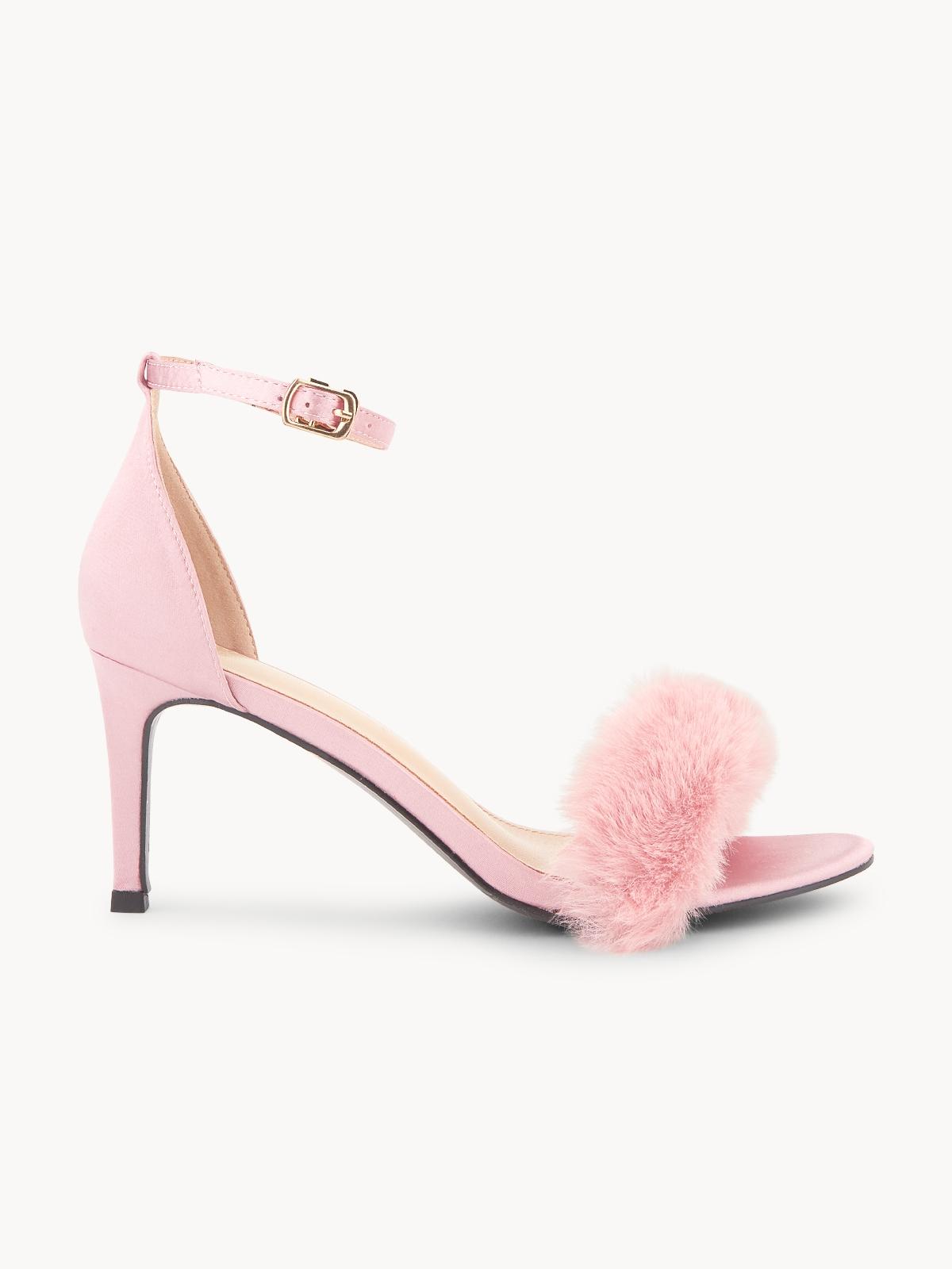Starkela Faux Fur Strap Heels Pink
