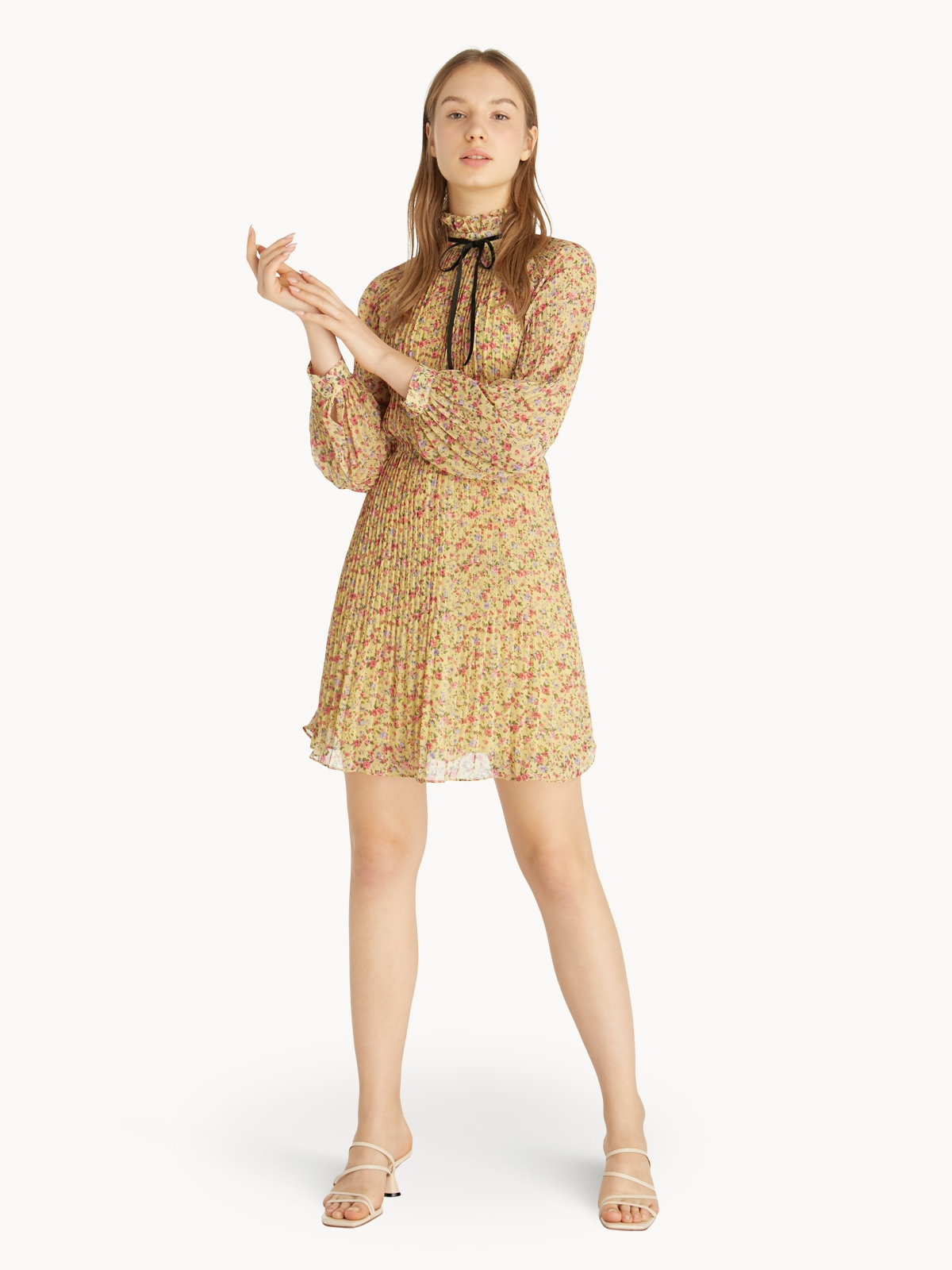 Pleated Floral Dress Yellow