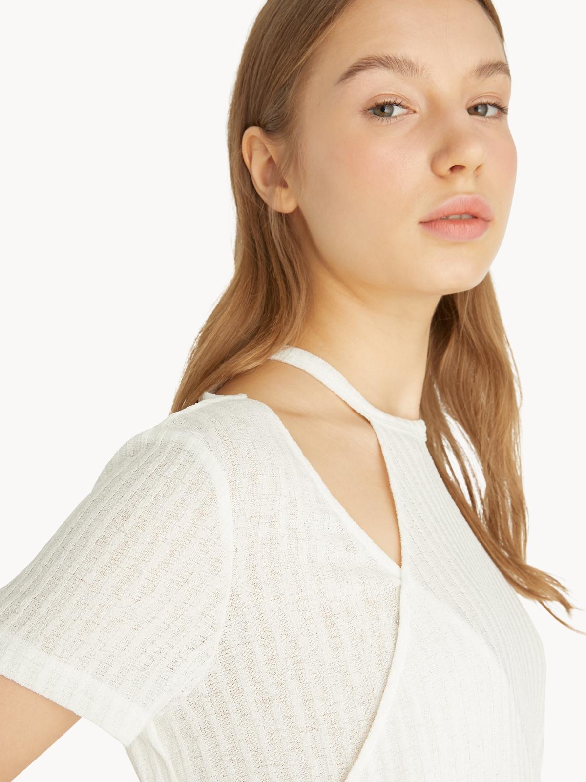 Ribbed Asymmetric Neckline Top White