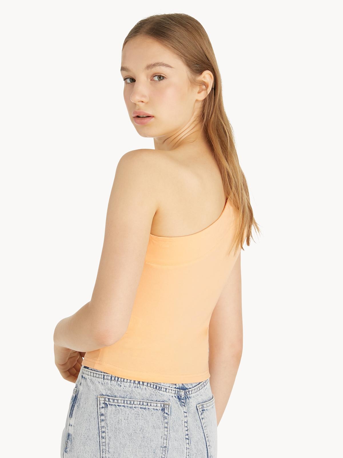 One Shoulder Short Sleeve Tee Orange