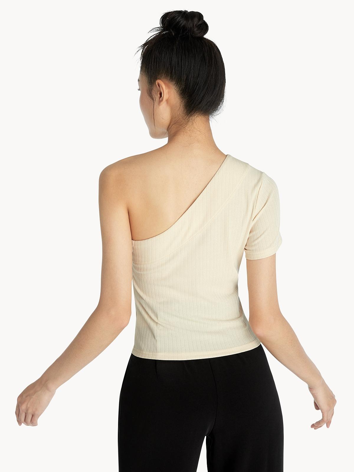 Ribbed One Shoulder Top Beige