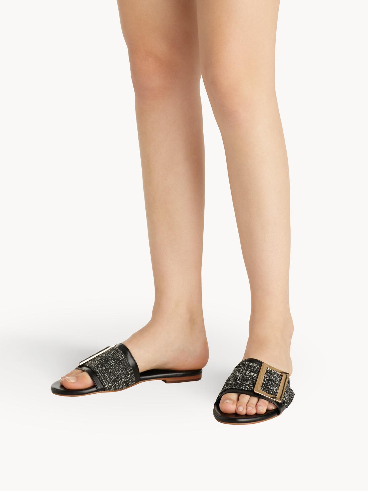 Chawisa Tweed Sandals Black