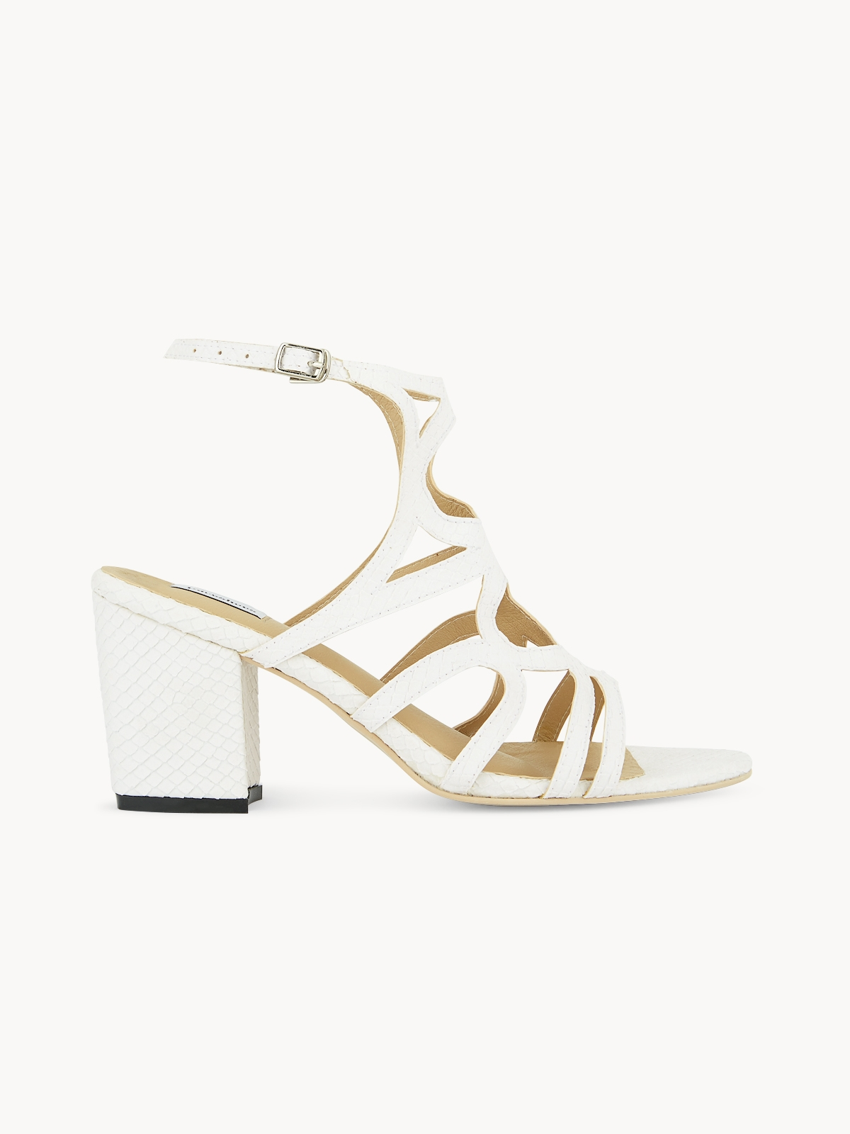 Pace Rounds Cut Out Textured Heels White