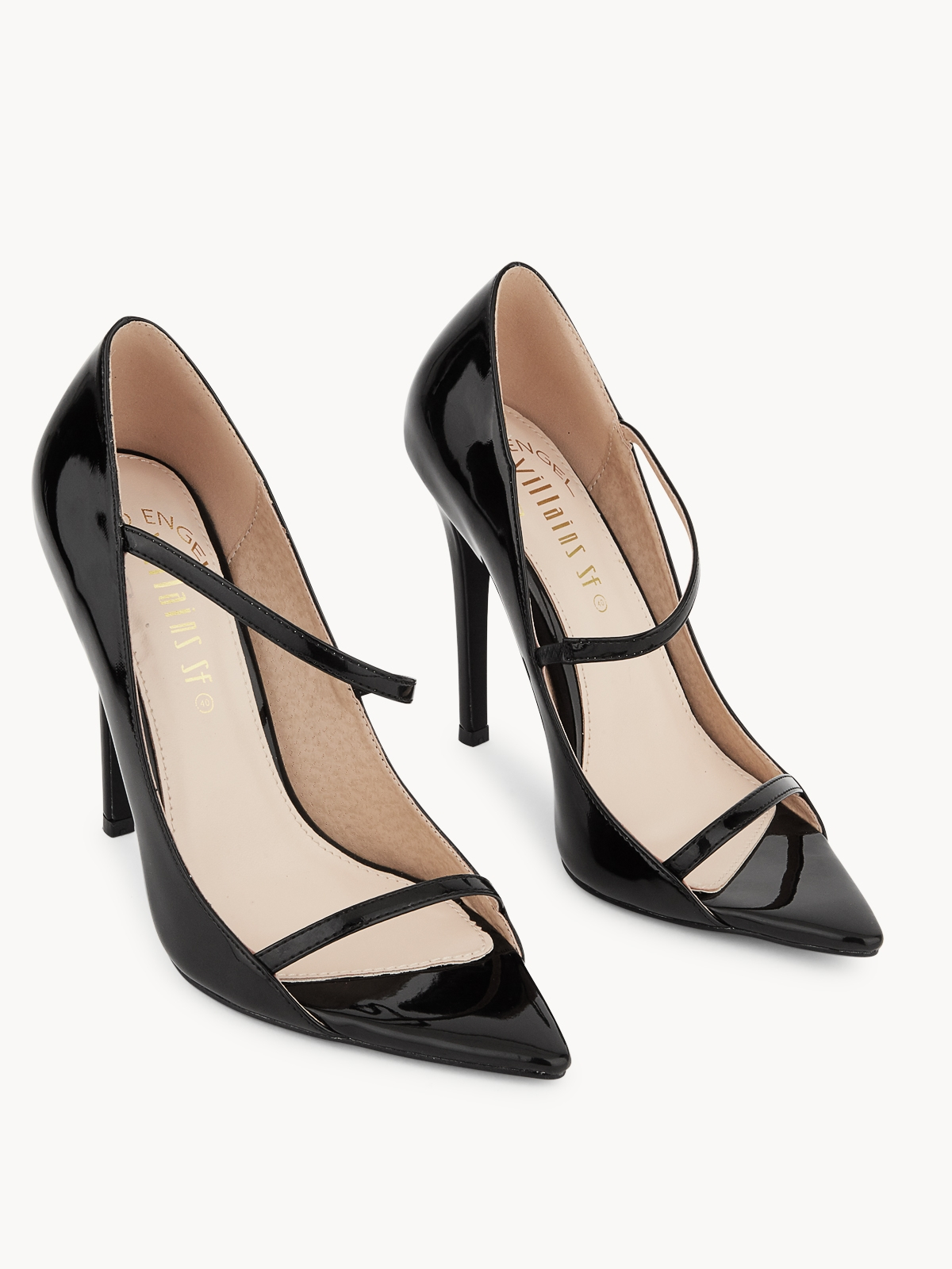 Villains SF Indira Open Toe Pump Heels Black