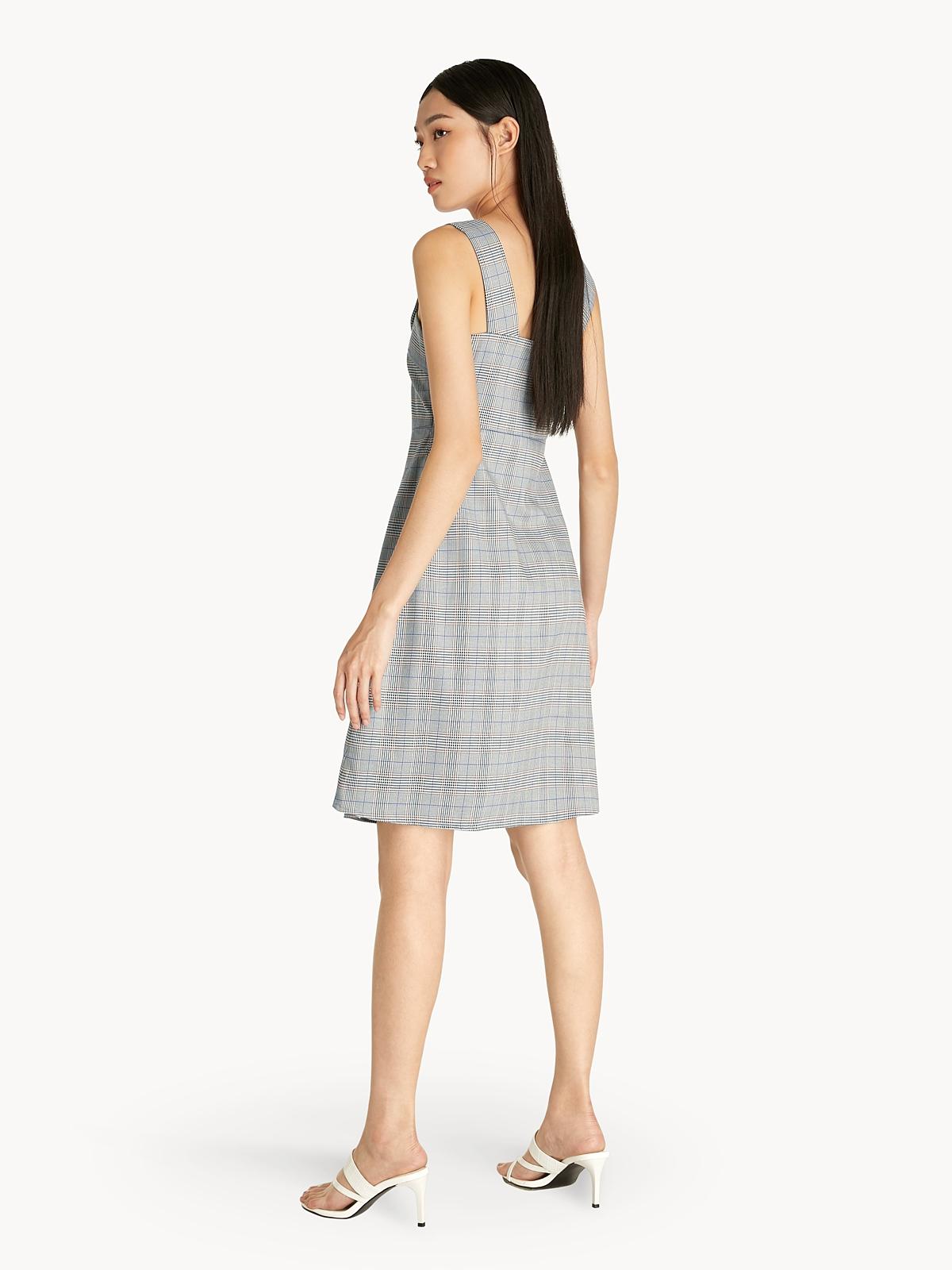 Tartan Pearl Detail Flare Dress Mid Grey