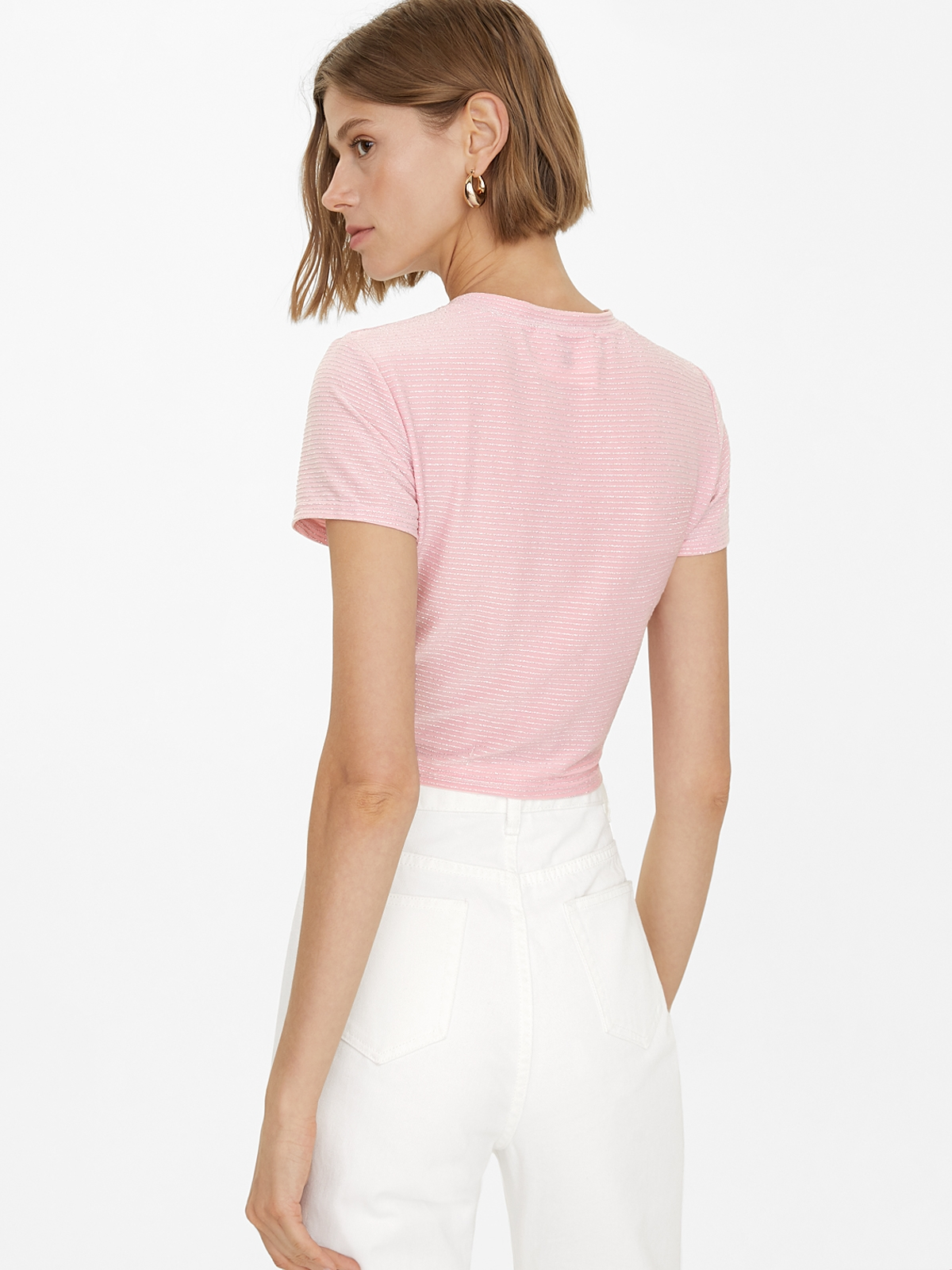 Glitter Pinstripes Knotted Top Pink