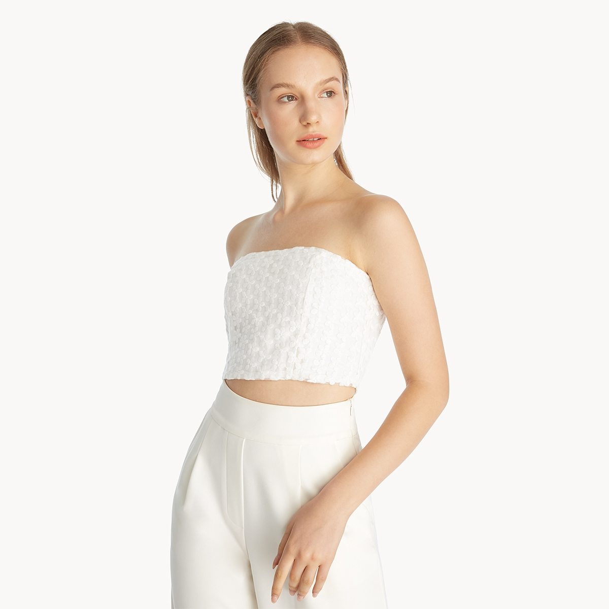 Floral Lace Tube Top White