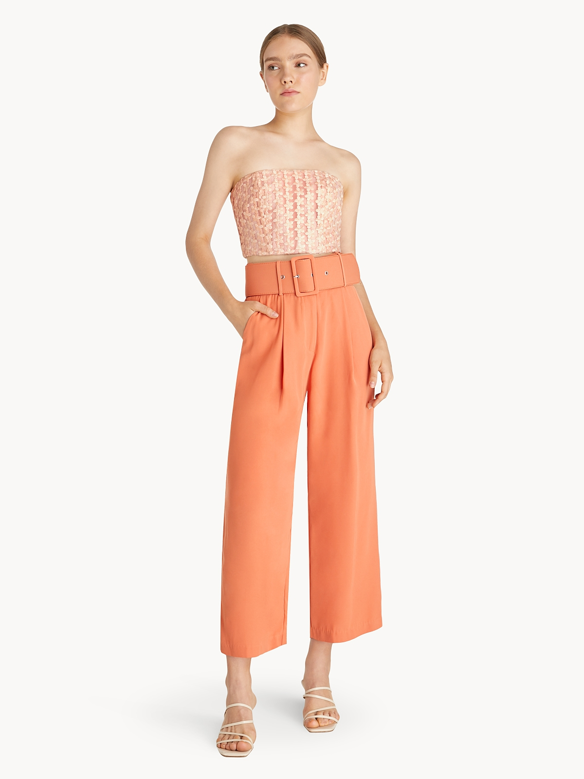 Floral Lace Tube Top Peach