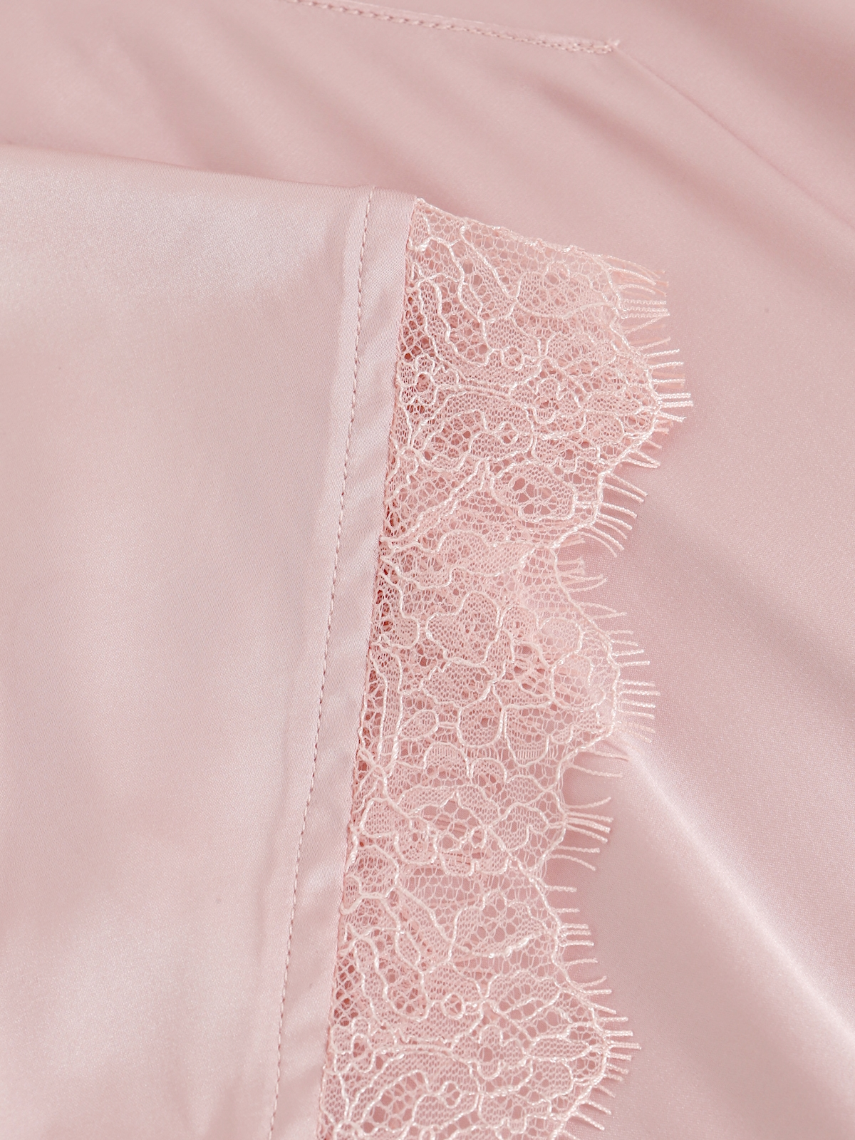 Lace Trim Short Sleeve Top Pink