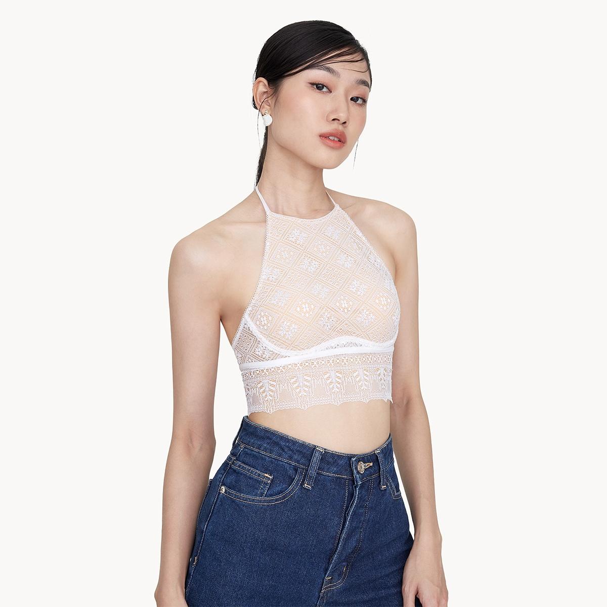Sabina Woonsen Lace Crop Bra White