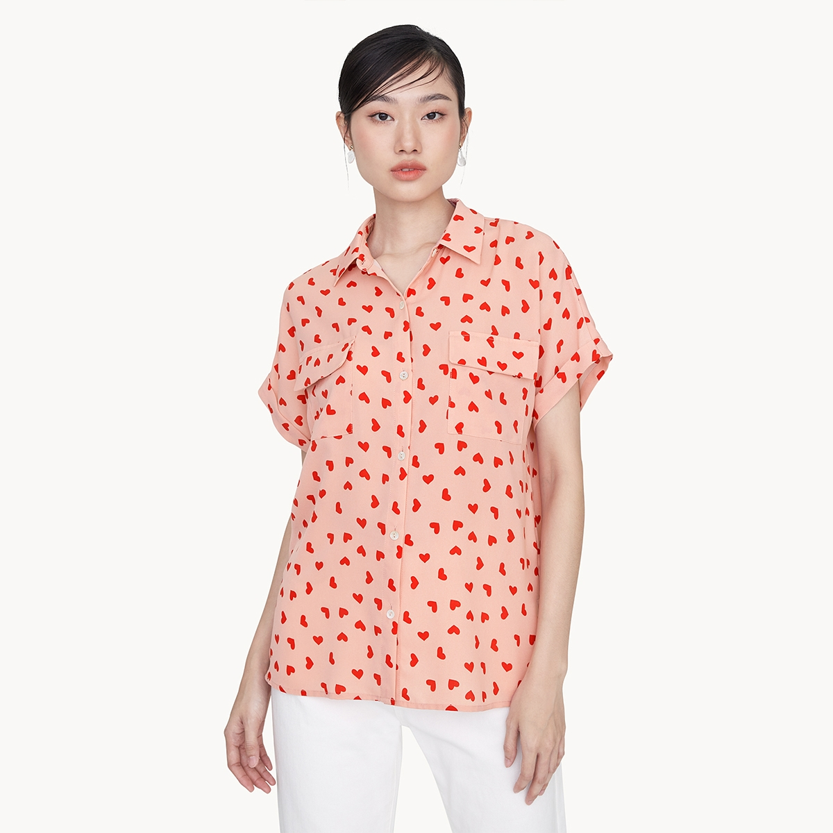 Heart Print Loose Button Down Top Pink