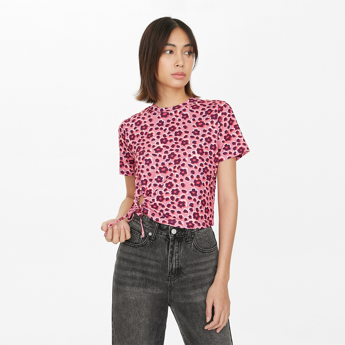 Floral Side Ruched Tee Pink
