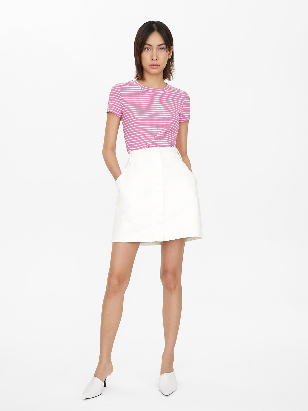 Knit Pinstripe Rib Tee Pink