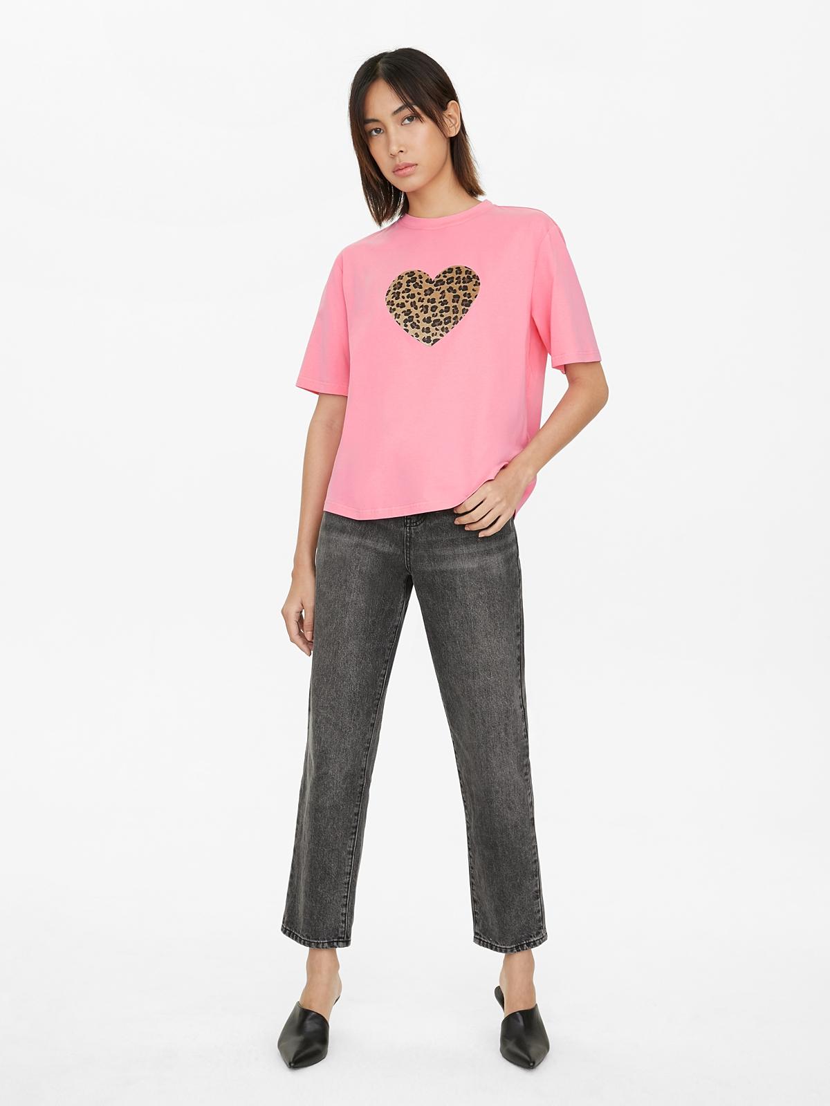 Leopard Heart Graphic Tee Pink