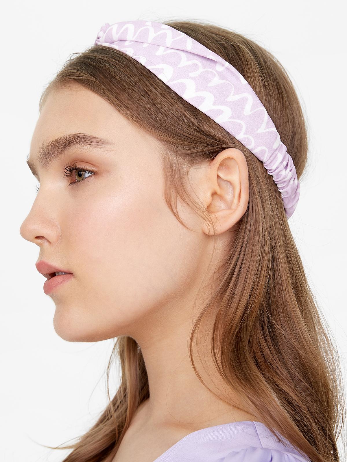 Scribble Print Knot Headband Lilac